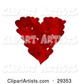 Cluster of Textured Red Hearts in the Shape of a Big Heart over a White Background