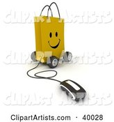 Computer Mouse Connected to a Smiling Yellow Shopping Bag on Wheels