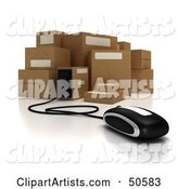 Computer Mouse Connected to Cardboard Boxes - Version 1