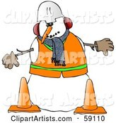 Construction Worker Snowman in Warm Clothes and a Hard Hat, Standing Behind Cones