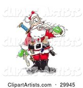 Crazy Santa Biting a Sword with His Teeth, Armed with Knives and Weapons