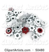 Crowd of Red and White Cogwheels