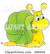 Curious Yellow and Green Snail with a Big Nose