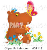 Cute Brown Baby Hippo with a Butterfly on His Nose, Sitting in a Bed of Colorful Spring Flowers, Tulips and Daisies