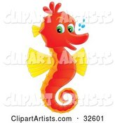 Cute Red and Yellow Seahorse with Green Eyes, Facing Right and Smiling at the Viewer, with Bubbles