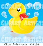 Cute Yellow Rubber Duck Posing in a Tub, Surrounded by Bubbles, on a Blue Background