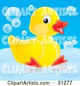 Cute Yellow Rubber Duck Relaxing in a Tub with Bubbles, on a Blue Background