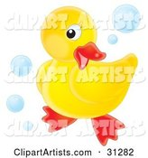 Cute Yellow Rubber Ducky Posing on a White Background, Surrounded by Blue Bubbles