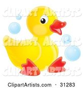 Cute Yellow Rubber Ducky Sitting on a White Background, with Blue Bubbles