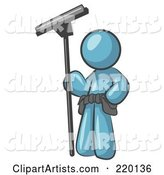 Denim Blue Man Window Cleaner Standing with a Squeegee