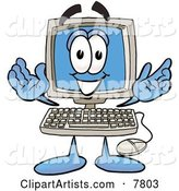 Desktop Computer Mascot Cartoon Character with Welcoming Open Arms