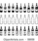 Digital Collage of Black and White Bottles