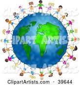 Diverse Children Holding Hands and Standing Around the Globe