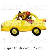 Dog with Hat, Pipe and Scarf, Driving a Yellow Car