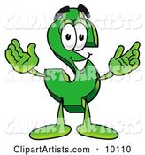 Dollar Sign Mascot Cartoon Character with Welcoming Open Arms