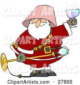 Drunk Santa with a Pink Lamp Shade on His Head, Holding a Light Fixture in One Hand and a Glass of Wine in the Other