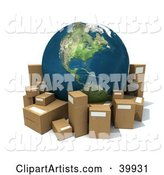 Earth Surrounded by Cardboard Boxes for Shipping