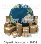 Earth Surrounded by Cardboard Parcels