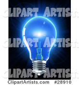 Electric Light Bulb Glowing with Blue Light, Symbolizing Inspiration and Creativity