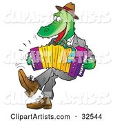 Energetic Alligator Wearing Clothes, Dancing and Playing an Accordion