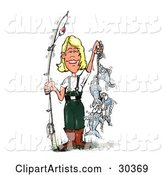 Fishing Blond Caucasian Woman in Wading Gear, Holding a Fishing Pole and a Rope of Caught Fish