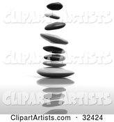 Flat Stacking Stones Falling and Landing on Top of One Another