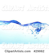 Flowing Clear Blue Purified Blue Water with Air Bubbles Underneath, over a White Background