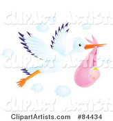 Flying Airbrushed Stork with a Baby Girl