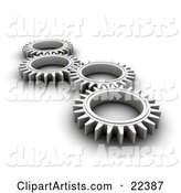 Four Chrome Cogs Lying down Flat, Spinning in Tandem