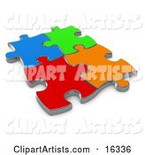 Four Different Colored Puzzle Pieces Connected over a White Background, Symbolizing Interlinking for Seo Website Marketing, Teamwork and Diversity