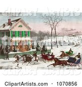 Four Horse Drawn Sleighs Racing down a Street in Front of a Home While People Watch or Ice Skate in the Background