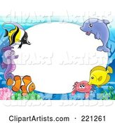 Frame of Marine Fish, a Dolphin, Crab and Seahorse Around Oval White Space
