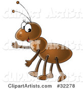 Friendly Brown Ant Gesturing to the Left