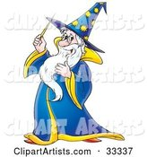 Friendly Male Wizard in a Blue and Yellow Hat and Cape, Holding a Magic Wand