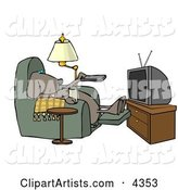 Funny Dog Sitting in a Recliner with a Beer, Changing TV Channels with Remote Controller