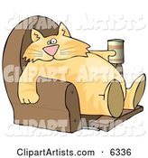 Funny Human-like Cat Sitting on a Recliner Chair with a Can of Beer