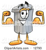 Garbage Can Mascot Cartoon Character Flexing His Arm Muscles