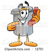 Garbage Can Mascot Cartoon Character Holding a Telephone