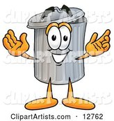 Garbage Can Mascot Cartoon Character with Welcoming Open Arms