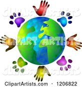 Globe Circled by Diverse Hand and Paw Prints