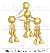Gold Business People Connected by Atoms, Symbolizing Teamwork, Brainstorming, Creativity and Ideas