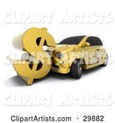 Gold Car Crashing into a Large Dollar Sign, Symbolizing Auto Insurance Claims or a Crashing Economy
