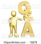 Gold Person Leaning Against a Stacked Questions and Answers Icon