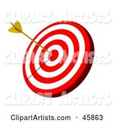 Golden Arrow in the Bullseye of a Target Board