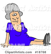 Gray Haired Lady in a Blue Dress, Dazed and Confused, Sitting on the Floor After Taking a Nasty Fall and Injuring Herself at the Office