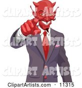 Greedy Horned Devil Pointing, Wanting Your Soul or Money
