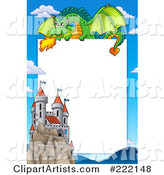 Green Dragon Above a Castle Frame Around White Space