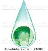 Green European Globe Inside a Rain Drop
