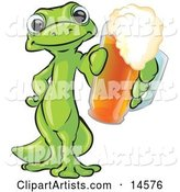 Green Gecko Standing on His Hind Legs, One Hand on His Hip, the Other Hand Holding out a Golden Frothy Cup of Beer