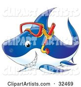 Grinning Blue Shark Wearing Snorkel Gear on Its Head